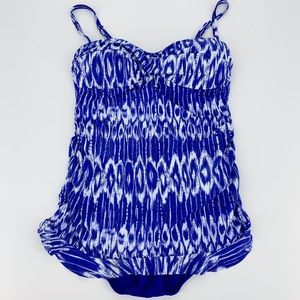 TOMMY BAHAMA Blue & White Skirted One Piece Suit